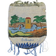 Two Pattern Canal Scene Micro Beaded Reticule Purse 19th Century