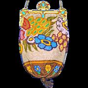 Stunning Stylized Flowers Deco Purse Stand-up Enamel Jeweled Frame