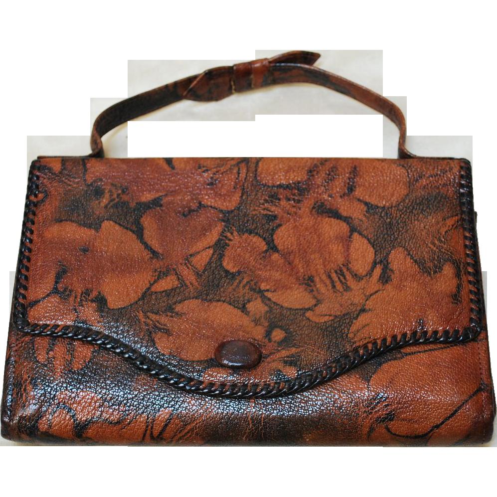 Unusual Vintage 20's Bosca Built Embossed Purse Leather Handbag