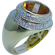 $3780 Designer Kristina 18K Gold Citrine Diamond Ring LAYAWAY is available