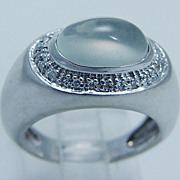 Designer Signed Jewelry Sonia B Bitton 14K Gold Chalcedony Diamond Ring