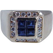 Estate Jewelry 14K Yellow Gold Sapphire Diamond Mens Ring