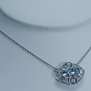 Vintage Jewelry 18K White Gold Aquamarine Diamond Pendant on Chain Necklace