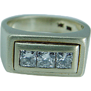 Estate Mens Jewelry 14K Yellow Satin Gold Hefty 1.11ct Princess cut Diamond Band Ring
