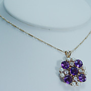 Vintage Jewelry 14K Gold Amethyst .48ct Old Euro Cultured Diamonds Pearls Necklace Chain