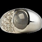 Estate Jewelry 14K White Gold Star Sapphire Diamond Men Ring