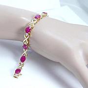$8800 Tag 13.95ct Ruby 1.25ct Diamonds Tennis Bracelet 14K Yellow Gold