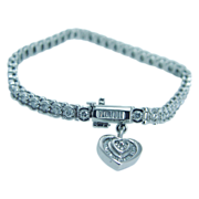 Signed Jewelry AV 2.80ct Diamonds Heart Charm 14K White Gold Tennis Bracelet