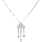 Vintage Jewelry Platinum Diamond Pendant Necklace with 14K White Gold Chain