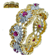 Franklin Mint 14K Yellow Gold Ruby Eternity Band Ring Vintage Jewelry sz 10.5