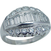 Vintage Platinum 1.06ct IF FG Baguettes Round Diamonds Wide Band Ring