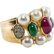Vintage 18K Yellow Gold Pearl Diamonds Ruby Emerald Sapphire Wide Band Ring