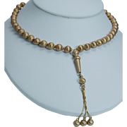 Vintage Jewelry 14K Yellow Gold Golden Beads Necklace with Drop 30.5 grams