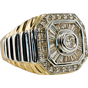 Estate 14K Yellow Gold 1.50cts Diamonds Mens Ring 14.5 gr sz.10.5 Jewelry