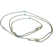 "Estate 14K Yellow Gold .72ct Diamonds by Yard 24"" Long Necklace Chain Jewelry"
