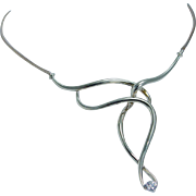 Designer Jose Hess .25ct VVS2 G Diamond Unique Necklace Choker 14K Yellow Gold