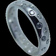 Estate 14K White Gold .84ct Diamonds Eternity Wedding Band Ring for Men
