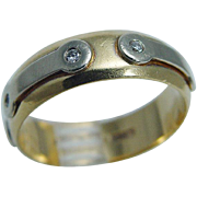 Designer Baraka 18K Yellow Gold Mens Wedding Band Ring for Man with Diamonds