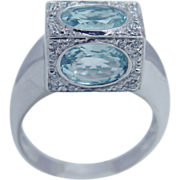 Estate Italian 18K White Gold Aquamarine Diamonds 3-D Ring Unusual Jewelry