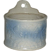 Late 1800's, Blue, Salt Glazed Pottery, Salt Box