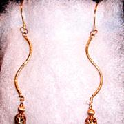 """14Kt Gold """"S"""" Dangle & Amethyst Briolettes - Earrings"""
