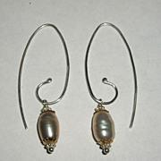 Sterling Silver Fresh Water Pink Pearl Swirl Drops - Earrings