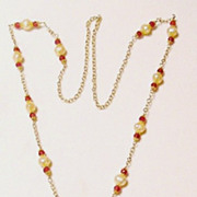 Peach Moonstone Leaves Gold Fill;ed Necklace