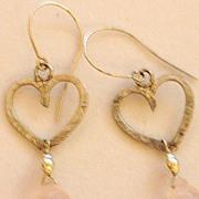 Sterling Silver Textured Heart Carved Rose Quartz - Earrings