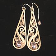 Sterling & Fine Silver & 14K Tanzanite Filigree teardrop Earrings