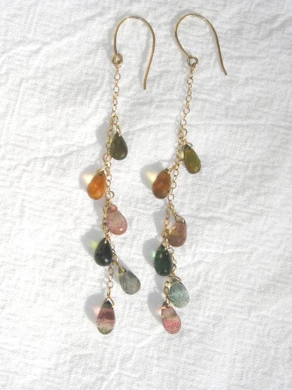 14kt Gold Tourmaline Drama - Earrings