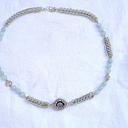 SALE Sterling Silver Aquamarine Persian Chain  - Necklace