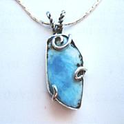 Sterling Silver Larimar Cabochon - necklace