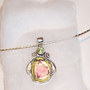 SS Watermelon Tourmaline Slice Necklace