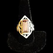 Sterling & Fine Silver Lavender Tourmaline Filigree Ring