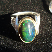 Sterling and Fine Silver and  22K Black Opal High Mounted cocktail Ring