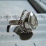 Sterling Silver Prasiolite (Green Amethyst) Pear  - Ring