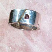 Sand Cast Sterling Silver Ring with Color Change Sapphire
