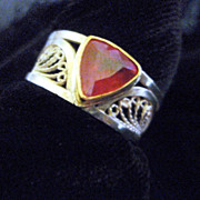 Sterling and Fine Silver & 14K Trillion Ruby Filigree Ring