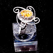 Sterling Silver Carved Yellow sapphire Ring