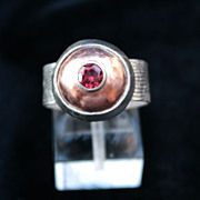 Sterling Silver & Copper Tourmaline Dome Ring