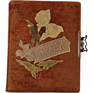 Antique Victorian Photographic Album Covered with Velvet and Filled with Photos of Children