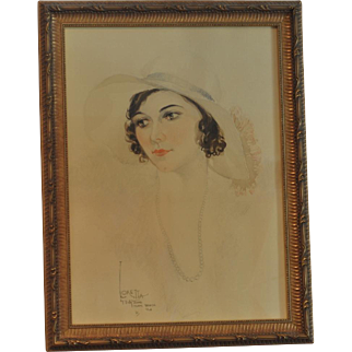 """Vintage Soft Pastel Painting of """"Loretta"""" with Hat by Artist Billy Wood Miami 1931"""