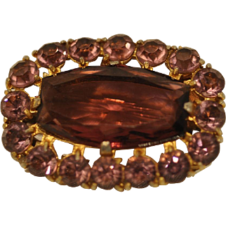 Sparkling Light Pink and Dark Pink Oval Faceted Rhinestone Pin