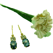 Vintage Rhinestone Sapphire Doll Jewelry Earrings & Flowers for Madame Alexander Cissy Miss Revlon Dollikins