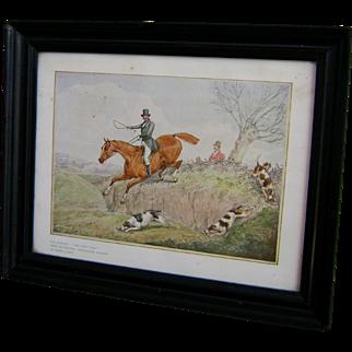 "SALE Vintage 1820's Henry Alken Fox Hunting Print ""The First Over"" in Original Frame"