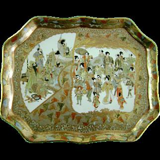 SALE Antique Vintage Japanese Porcelain Satsuma Meiji Tea Tray Platter Signed