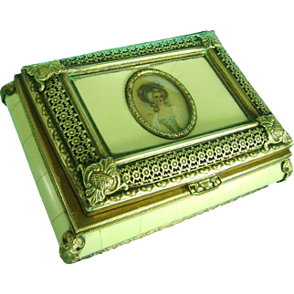 Vintage Antique Brass Celluloid Box Madame Pompadour Miniature Portrait France