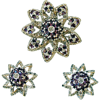 Reja Star Amethyst Rhinestone Pin Earrings Set