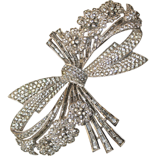 Large Real Look Ciro Rhinestone Bow Flower Pin Brooch 2 1/2in