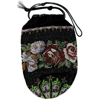REDUCED Victorian Floral Beaded Reticule Purse Bk Pc